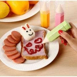 อุปกรณ์ทำเบนโตะ ข้าวกล่อง หลอดใส่ซอส ปากกาตกแต่งอาหาร เซ็ต 3 ชิ้น