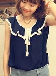 เสื้อผ้าชีฟอง คอแต่งระบายสวย แขนกุด สีน้ำเงิน ผูกโบว์น่ารัก
