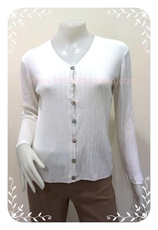 """BNK0162--เสื้อคลุมนิตติ้ง สีขาว แบรนด์เนม JONES NEW YORK """"""""อก 34-38 นิ้ว"""""""