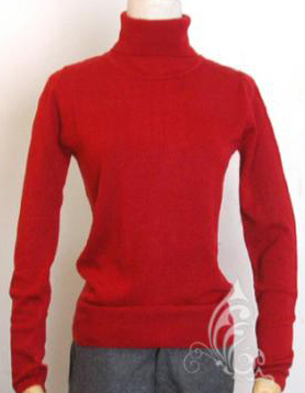 เสื้อกันหนาว คอเต่า สีแดง แขนยาว จั๊มแขนและชายนิดหน่อย