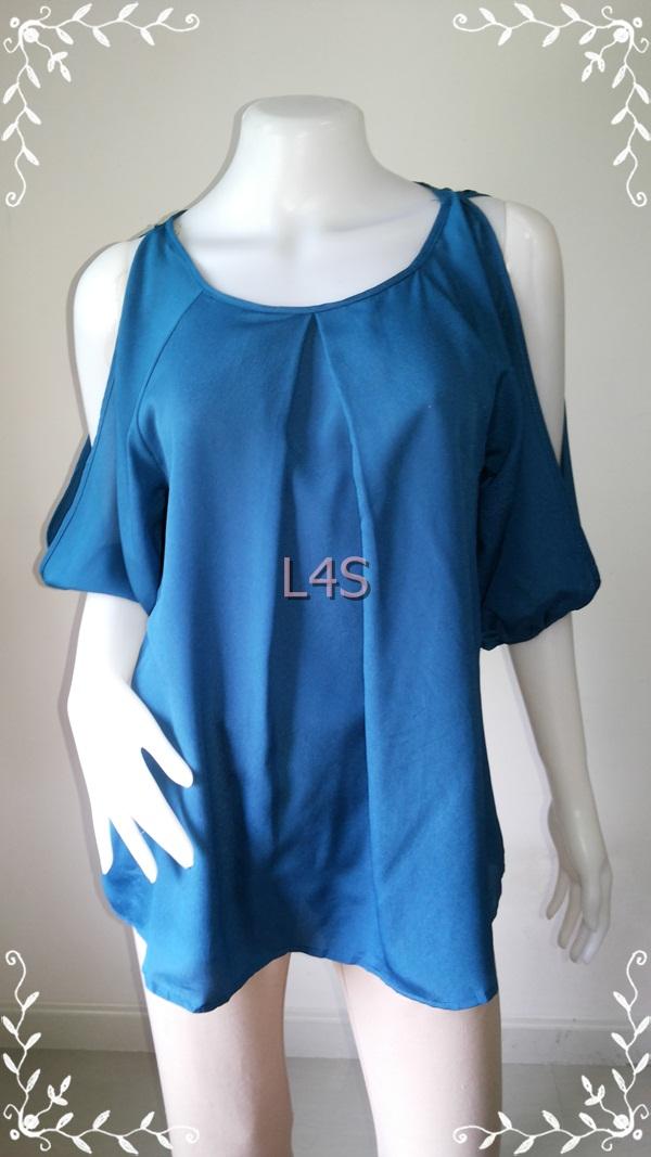 """jp3821-เสื้อแฟชั่น นำเข้า สีเขียวอมน้ำเงิน ENTRO """"อก 37 นิ้ว"""""""