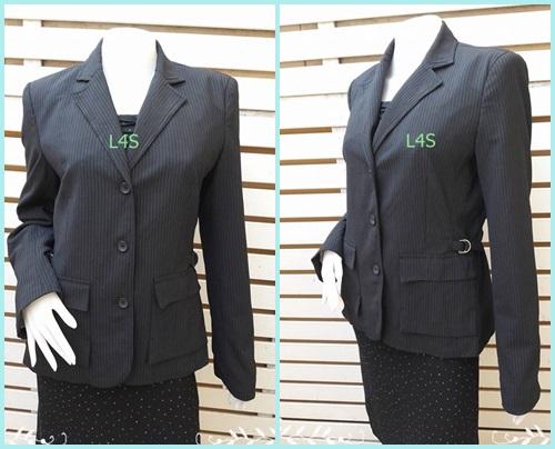 BN4620-เสื้อสูท สีดำลายทาง แบรนด์ EXPRESS อก 38 นิ้ว