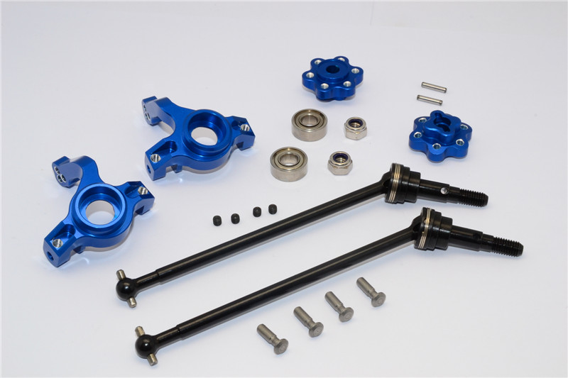 ALUMINIUM FRONT KNUCKLE ARM WITH HEX ADAPTERS & STEEL FRONT CVD DRIVE SHAFT