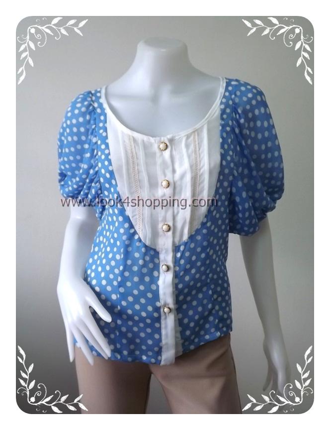 """jp2094-เสื้อแฟชั่น ชีฟอง สีฟ้าลายจุดขาว """"อก 32 นิ้ว"""""""