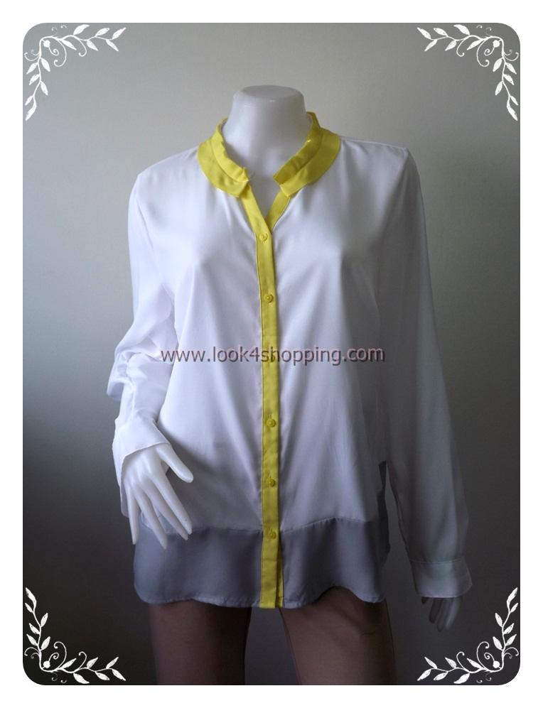 BN2466--เสื้อแฟชั่น สีขาว นำเข้า WORTHINGTON อก 44 นิ้ว