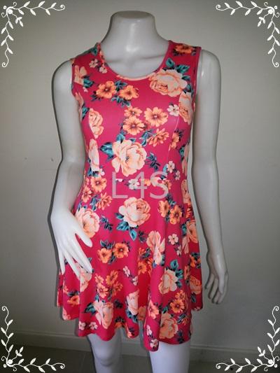 """BNS0252--เดรสแฟชั่น ผ้ายืด ลายดอกไม้ สีสดใส forever21 """"อก 29-33 นิ้ว"""""""