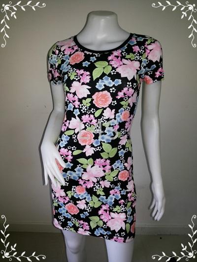 """BNS0253--เดรสแฟชั่น ผ้ายืดcotton ลายดอกไม้ H&M """"อก 30-33 นิ้ว"""""""