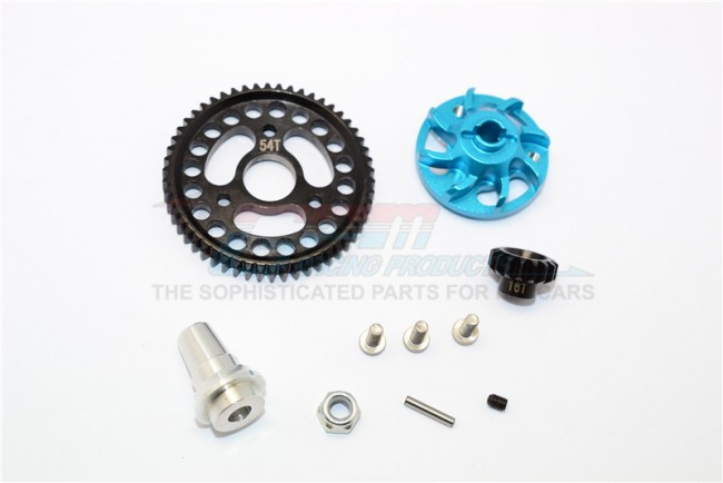 ALUMINIUM GEAR ADAPTER WITH STEEL 32 PITCH 54T SPUR GEAR & 16T MOTOR GEAR - 1SET (FOR SLASH 4X4 LOW-CG 68086-21 VERSION)