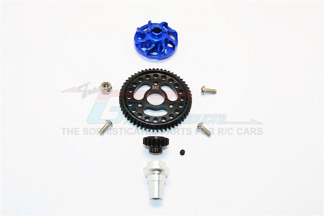 ALUMINIUM GEAR ADAPTER WITH STEEL 32 PITCH 54T SPUR GEAR & 17T MOTOR GEAR - 1SET (FOR SLASH 4X4 LOW-CG 68086-21 VERSION)