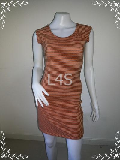"BNS0257--เดรสแฟชั่น ผ้ายืดcotton ลายทางสีส้ม H&M ""อก 28-32 นิ้ว"""