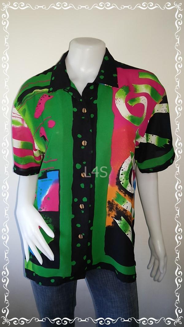 jp4224-เสื้อเชื้ตแฟชั่น นำเข้า สีเขียวลาย 30 ans อก 40 นิ้ว