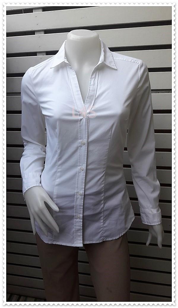 เสื้อเชิ้ต มือสอง แบรนด์ สีขาว H&M อก 33 นิ้ว
