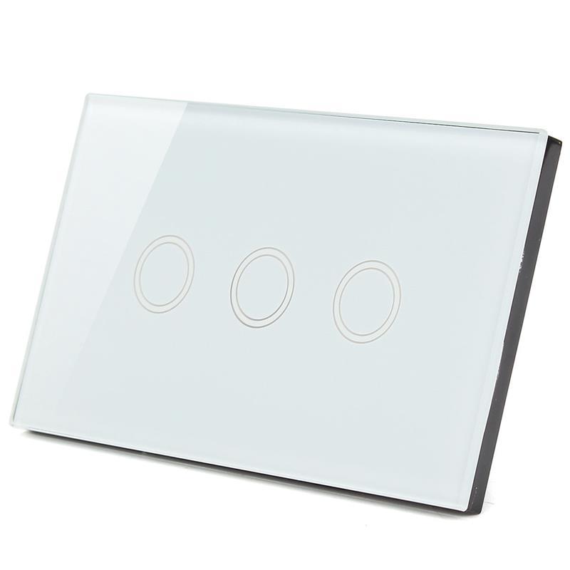 Touch switch สวิทช์ไฟสัมผัส สีขาว 3 ปุ่ม