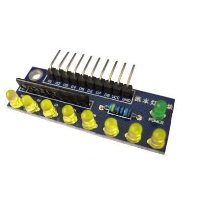 บอร์ดทดลอง LED 8 ดวง สีเหลือง