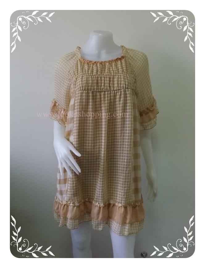 """Dress0514--เดรสแฟชั่น ชีฟอง สีน้ำตาลกากี 'อก 32-40 นิ้ว"""""""