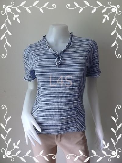jp3964-เสื้อแฟชั่น สวยๆ สีฟ้าน้ำเงินลายทาง อก 32-34 นิ้ว