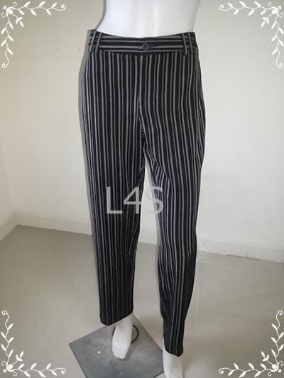 กางเกงผ้า สีดำลายทาง BOUTON เอว 30 นิ้ว
