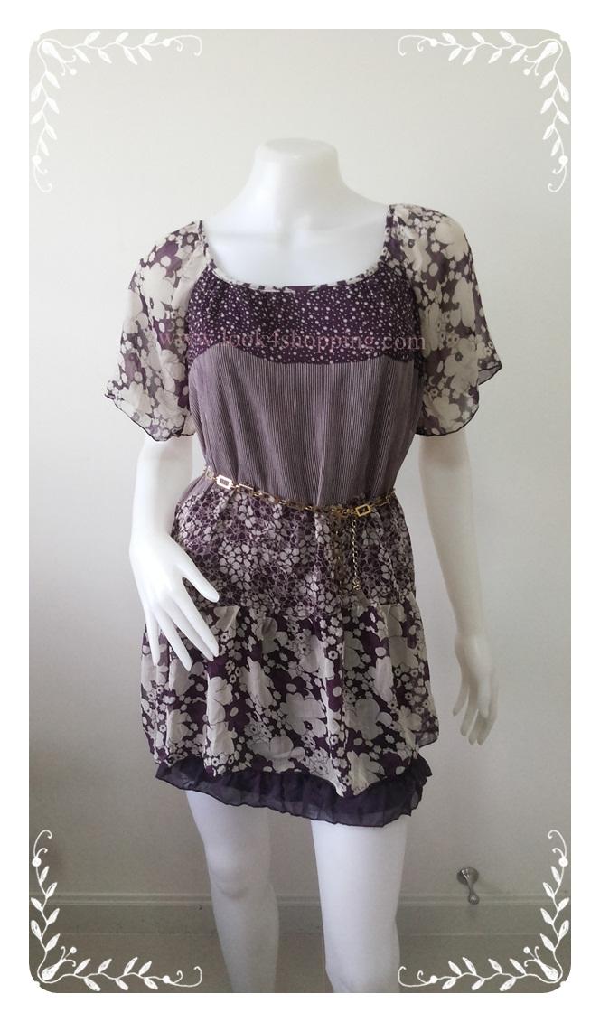 """Dress0638--เดรสแฟชั่น หรือ เสื้อตัวยาว ชีฟอง สวยๆ """"อก 32-34 นิ้ว"""""""