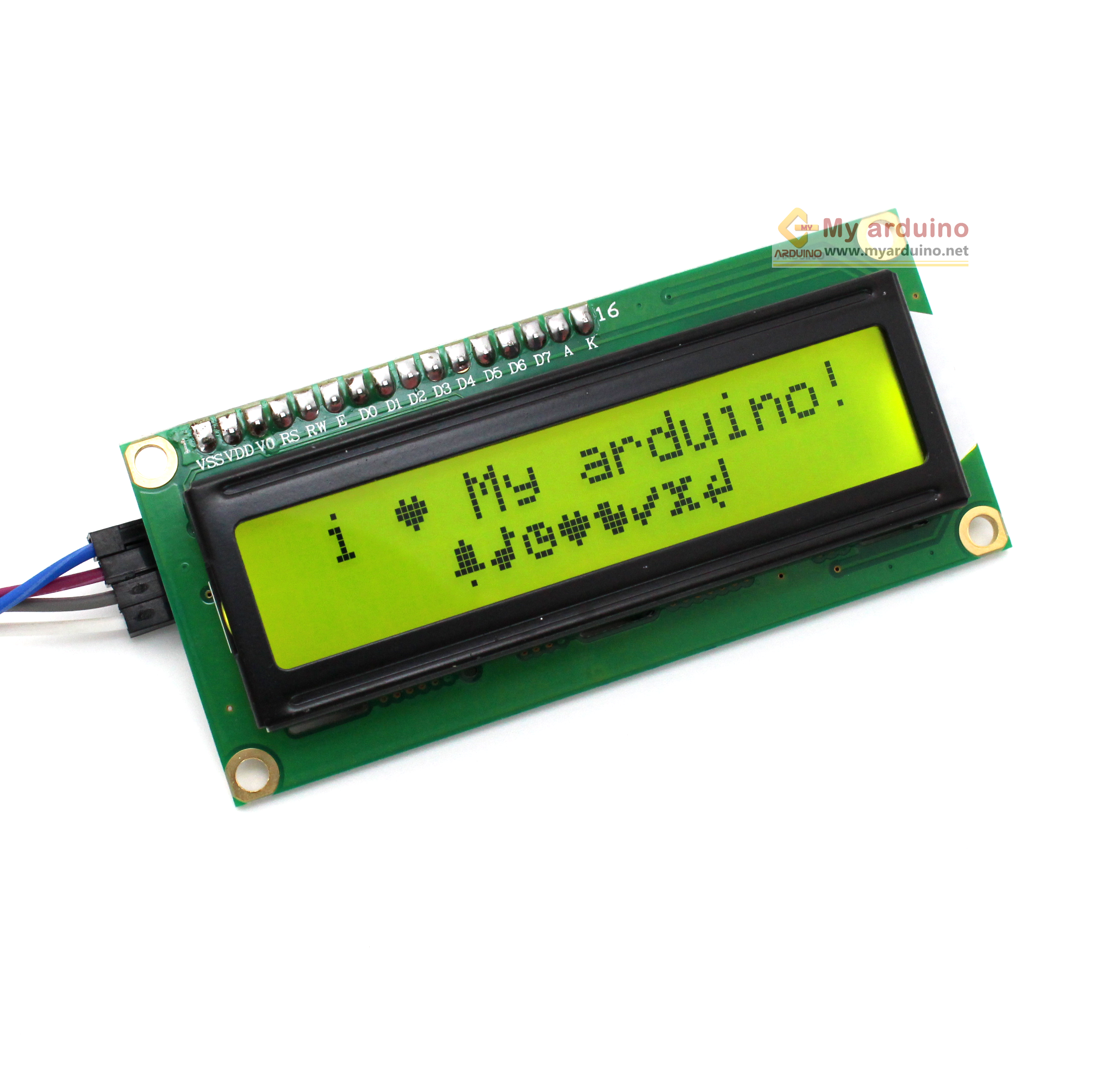1602 LCD (Yellow Screen) 16x2 โมดูลจอ LCD พร้อม I2C Interface
