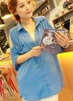 เสื้อชีฟอง เว้าไหล่ สีฟ้า คอปก ตัวปล่อย สวย ๆ