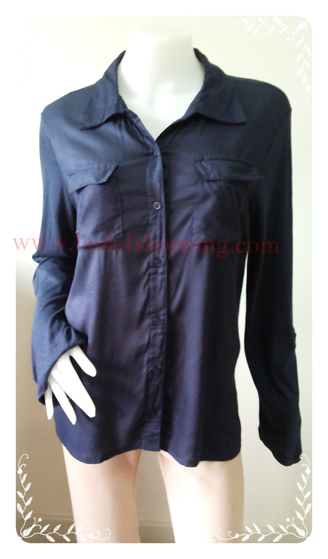 "BN3385--ของใหม่->เสื้อแฟชั่น สวยๆ สีน้ำเงินเข้ม Christopher & bank ""อก 42-44 นิ้ว"""