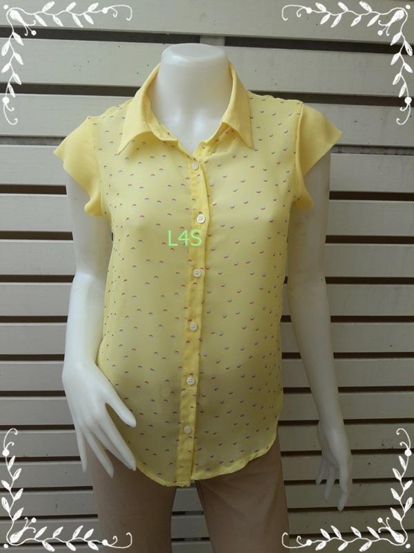 jp4638-เสื้อแฟชั่น ชีฟอง สีเหลือง อก 34 นิ้ว