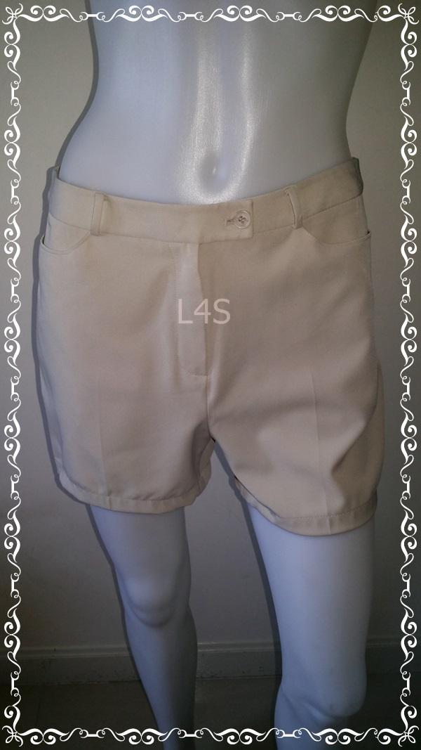 short0021-กางเกงผ้าขาสั้น สีครีมกากีอ่อน MARZO เอว 30 นิ้ว