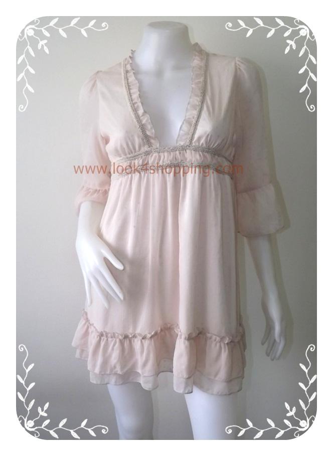 """Dress0064--เดรสแฟชั่น ชีฟอง สีครีม Gosii """"อก 33-34 นิ้ว"""""""