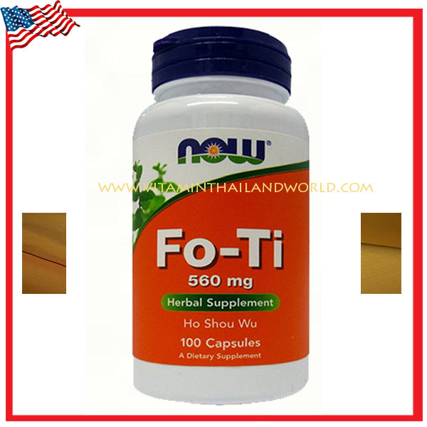 Now Foods Fo-Ti (Ho Shou Wu) 560 mg 100 Capsules ชะลอผมหงอก