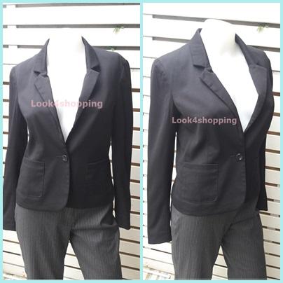 เสื้อสูท มือสอง นำเข้า สีดำ H&M อก 33 นิ้ว