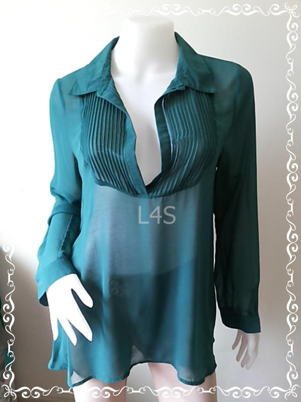 jp4421-เสื้อแฟชั่น ชีฟอง สีเขียว DANIEL RAINN อก 38 นิ้ว