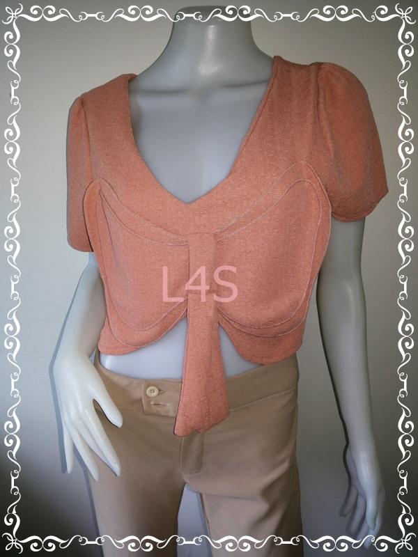 jp4517-เสื้อแฟชั่น สีส้ม อก 35-36 นิ้ว