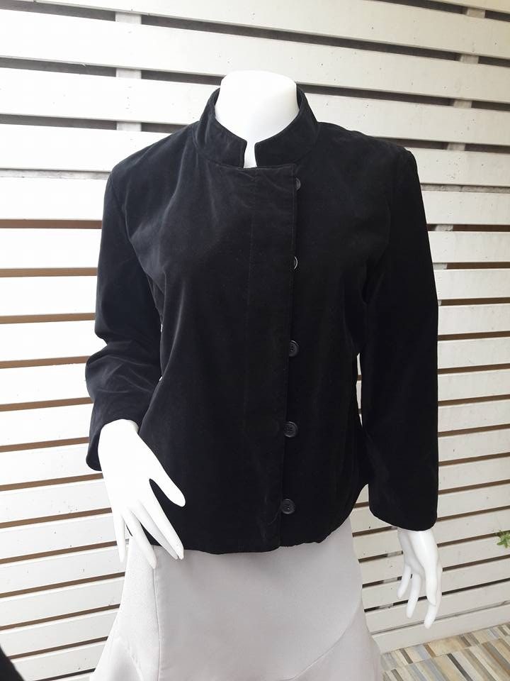 BNjean0057+เสื้อคลุมกำมะหยี่ นำเข้า สีดำ ISAAC MIZRAHI อก 38 นิ้ว