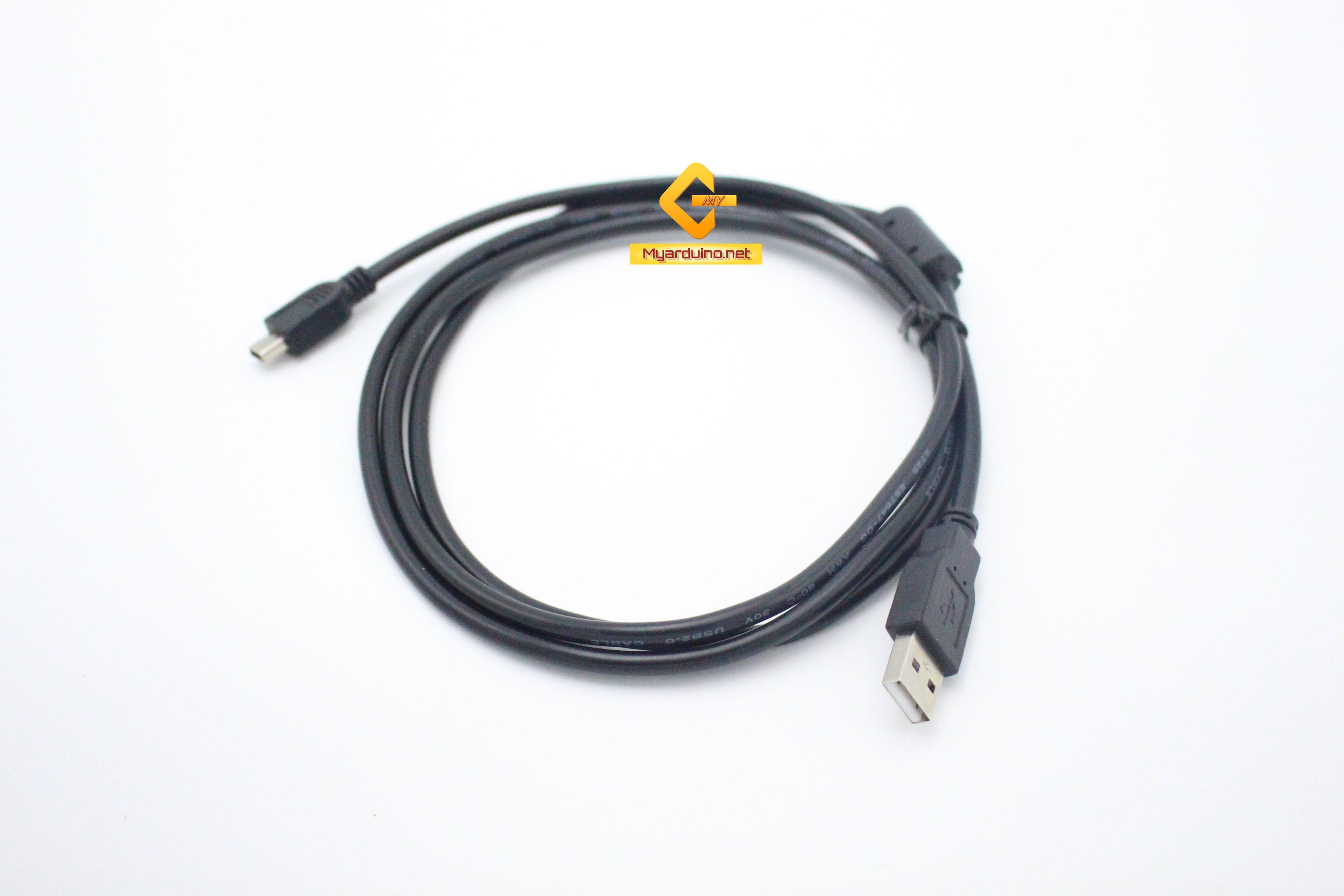 สาย Mini USB Cable (USB 2.0 A to USB Mini B) 1.5m สีดำ