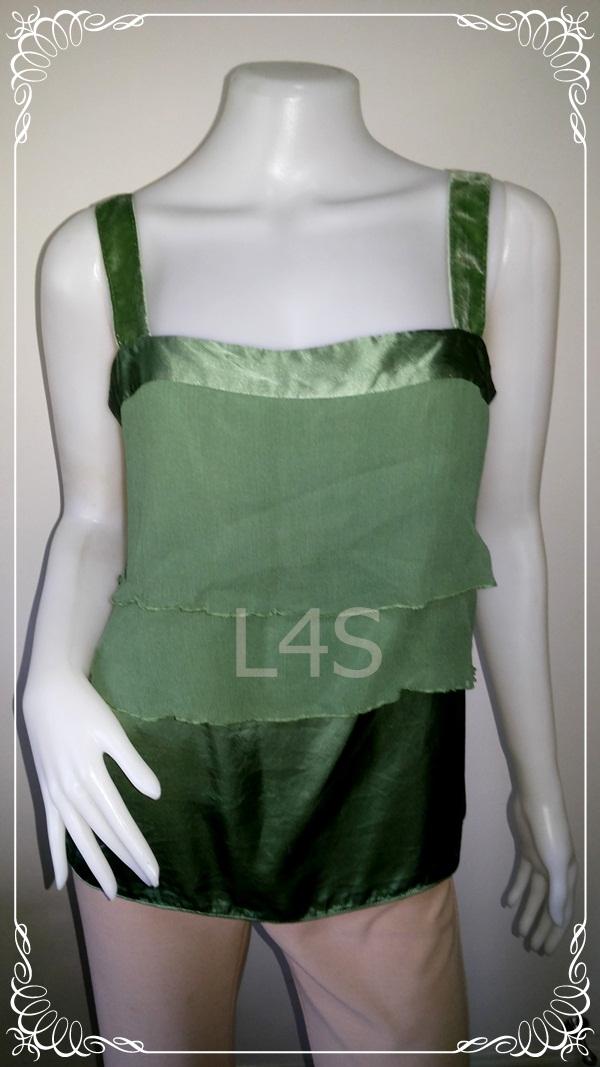 jp3635-เสื้อแฟชั่น นำเข้า silk สีเขียว TAHAIR อก 34 นิ้ว
