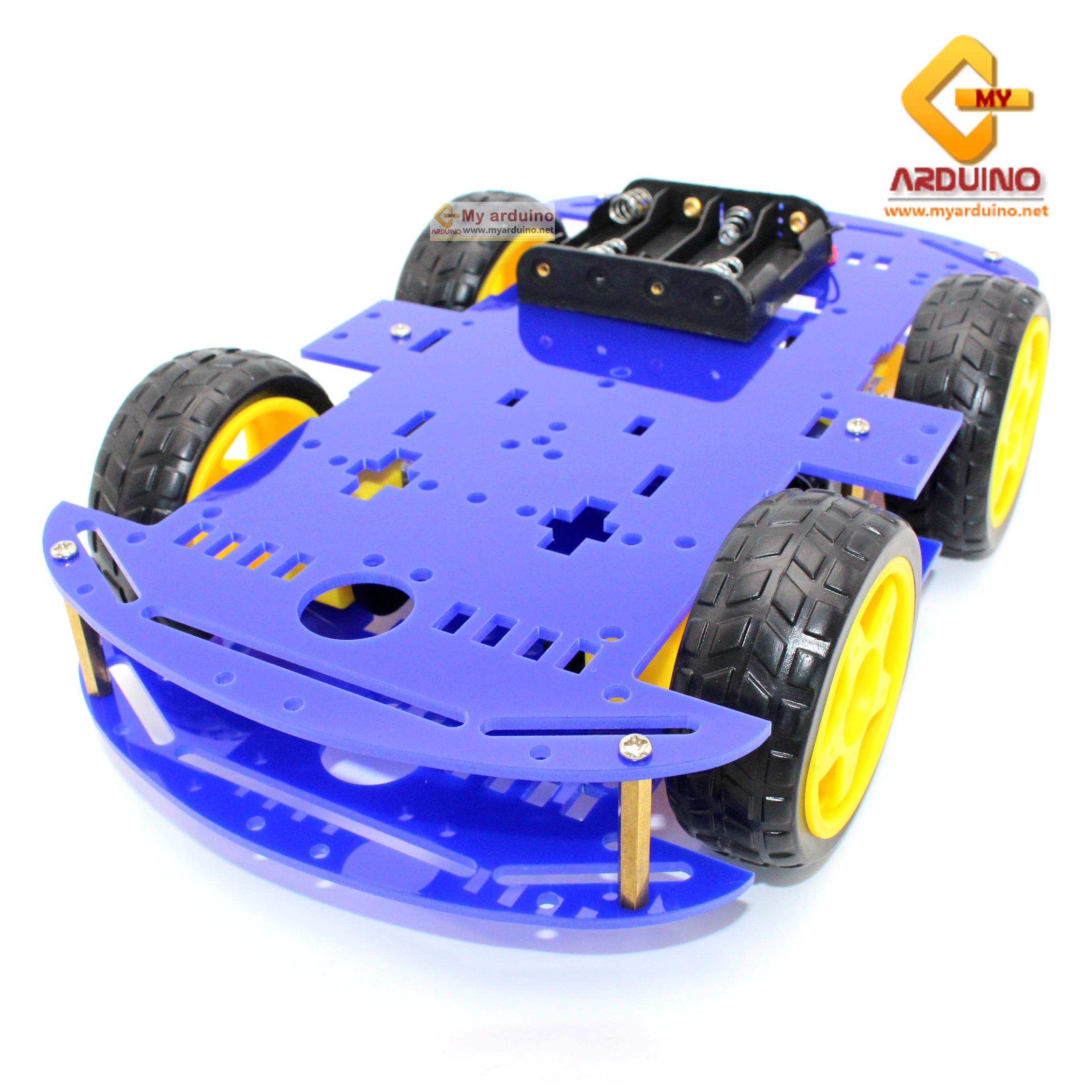 โครงรถ หุ่นยนต์ 4WD สีน้ำเงิน smart car chassis