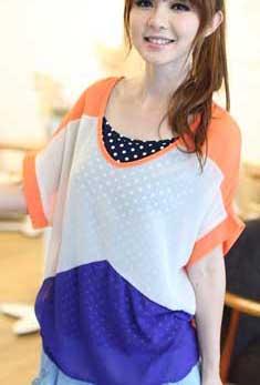 เสื้อทำงานทูโทน ลายฟันปลา สีส้ม พร้อมเสื้อกล้ามด้านใน ผ้าชีฟอง