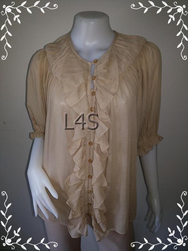 """BN3877--เสื้อผ้ามือสอง-->เสื้อแฟชั่่น ชีฟอง สีน้ำตาล อ่อน PENA WOMAN """"อก free- 40 นิ้ว"""""""