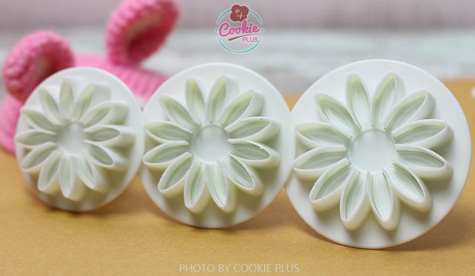 ชุดพิมพ์กดคุกกี้ / ฟองดอง รูปดอกไม้ 3 ขนาด