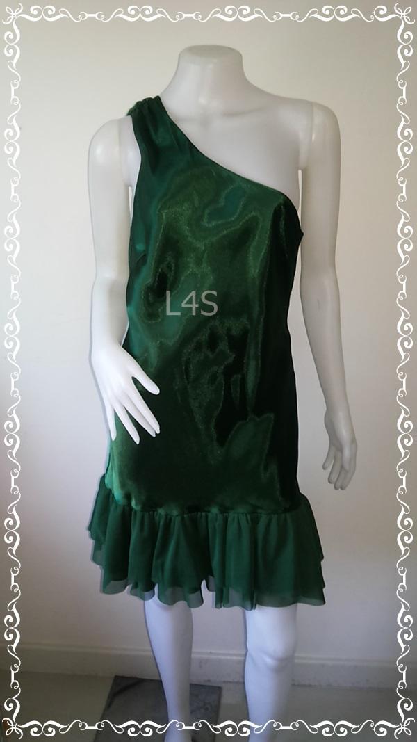 BNS0332--เดรสแฟชั่น มือสอง สีเขียวเข้ม แบรนด์ XXL by FOREVER21