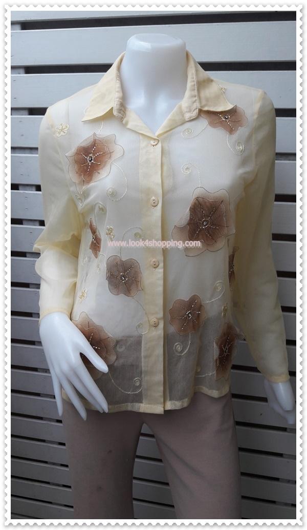 jp4991-เสื้อแฟชั่น นำเข้า สีเหลืองอ่อน อก 36 นิ้ว