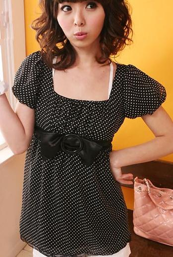 เสื้อชีฟอง ลายจุด แขนตุ๊กตา สีดำ พร้อมเข็มขัด น่ารัก