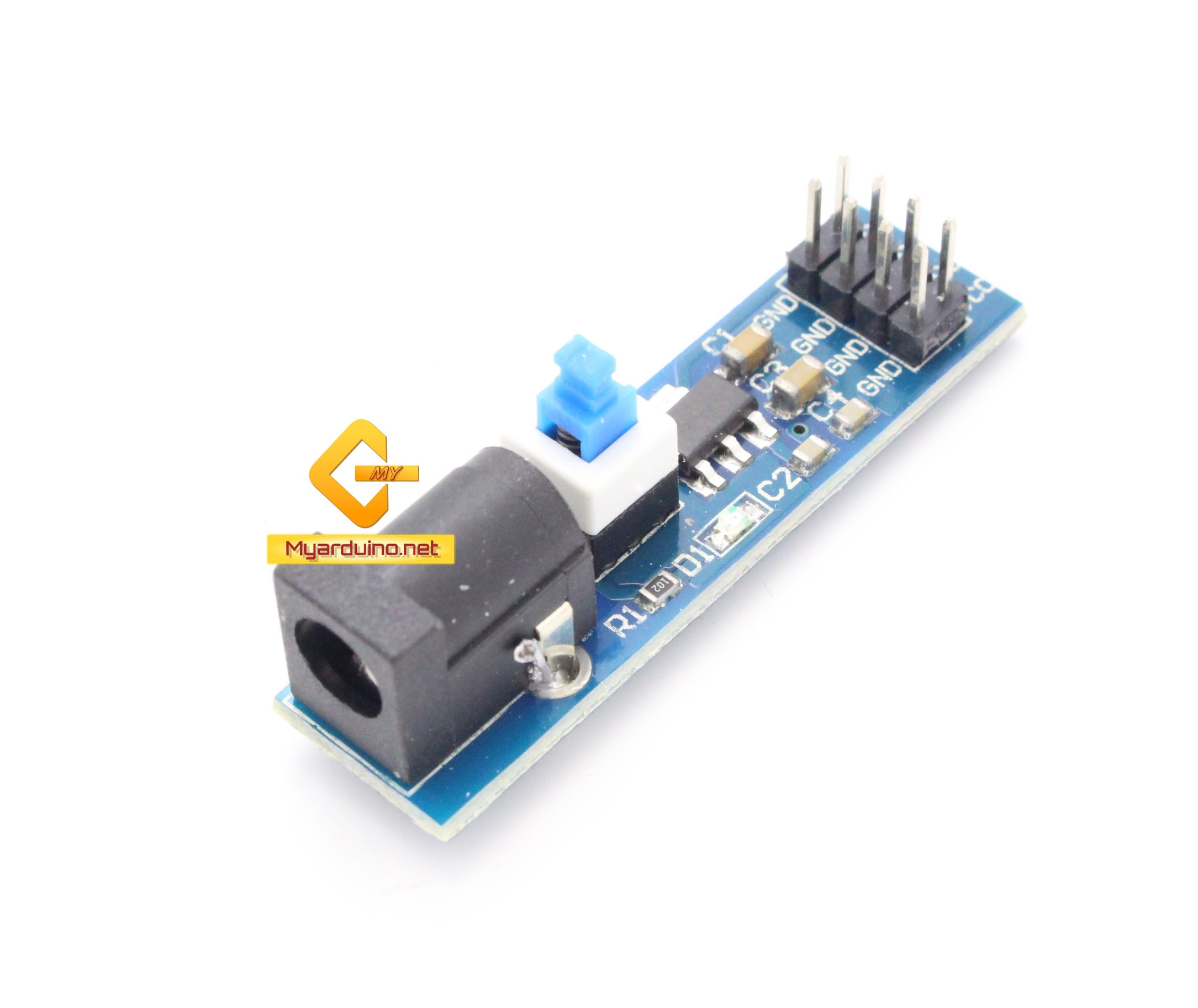 AMS1117 3.3V Jack 5.5x2.1mm Power Supply Module with DC Switch