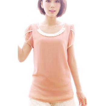 เสื้อทำงาน ชีฟองคอแต่ง แขนสั้นกลีบดอกบัว คลุมสะโพก สีชมพูโอรส