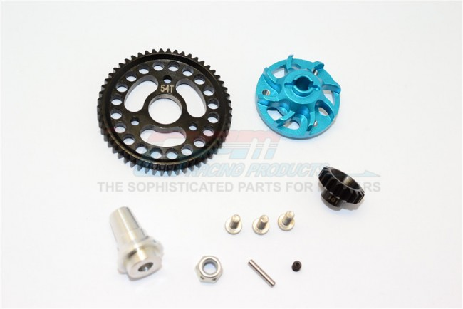 ALUMINIUM GEAR ADAPTER WITH STEEL 32 PITCH 54T SPUR GEAR & 18T MOTOR GEAR - 1SET (FOR SLASH 4X4 LOW-CG 68086-21 VERSION)