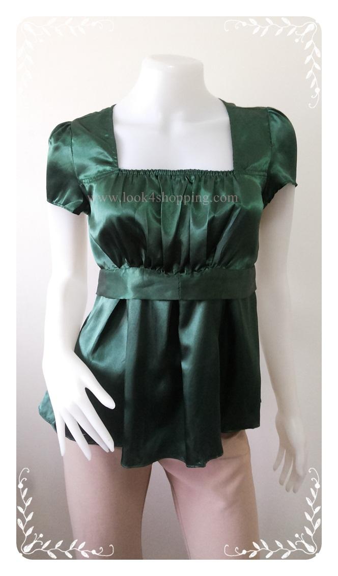 """jp2316-เสื้อแฟชั่น นำเข้า สีเขียว """"อก 32-34 นิ้ว"""""""