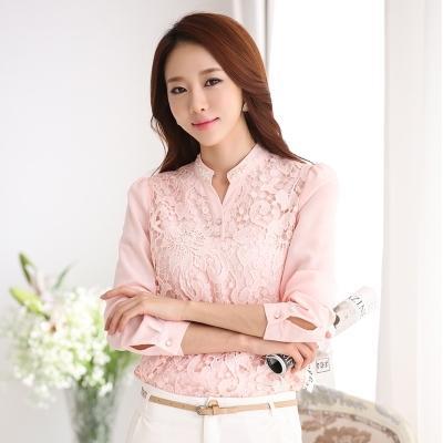 [หมด]เสื้อเชิ๊ตไสตล์เกาหลี ดีเทล ผ้าชีฟองทรงตรงต่อผ้าลูกไม้ด้านหน้า ด้านหลังเรียบเก๋ คอแหลมติดกระดุมที่คอ แขนยาว ใส่สบายค่ะรหัสMN21