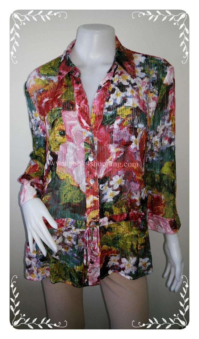 "BN2943--เสื้อแฟชั่น ลายดอกไม้ แบรนด์ CHICO'S ""อก 40 นิ้ว"""
