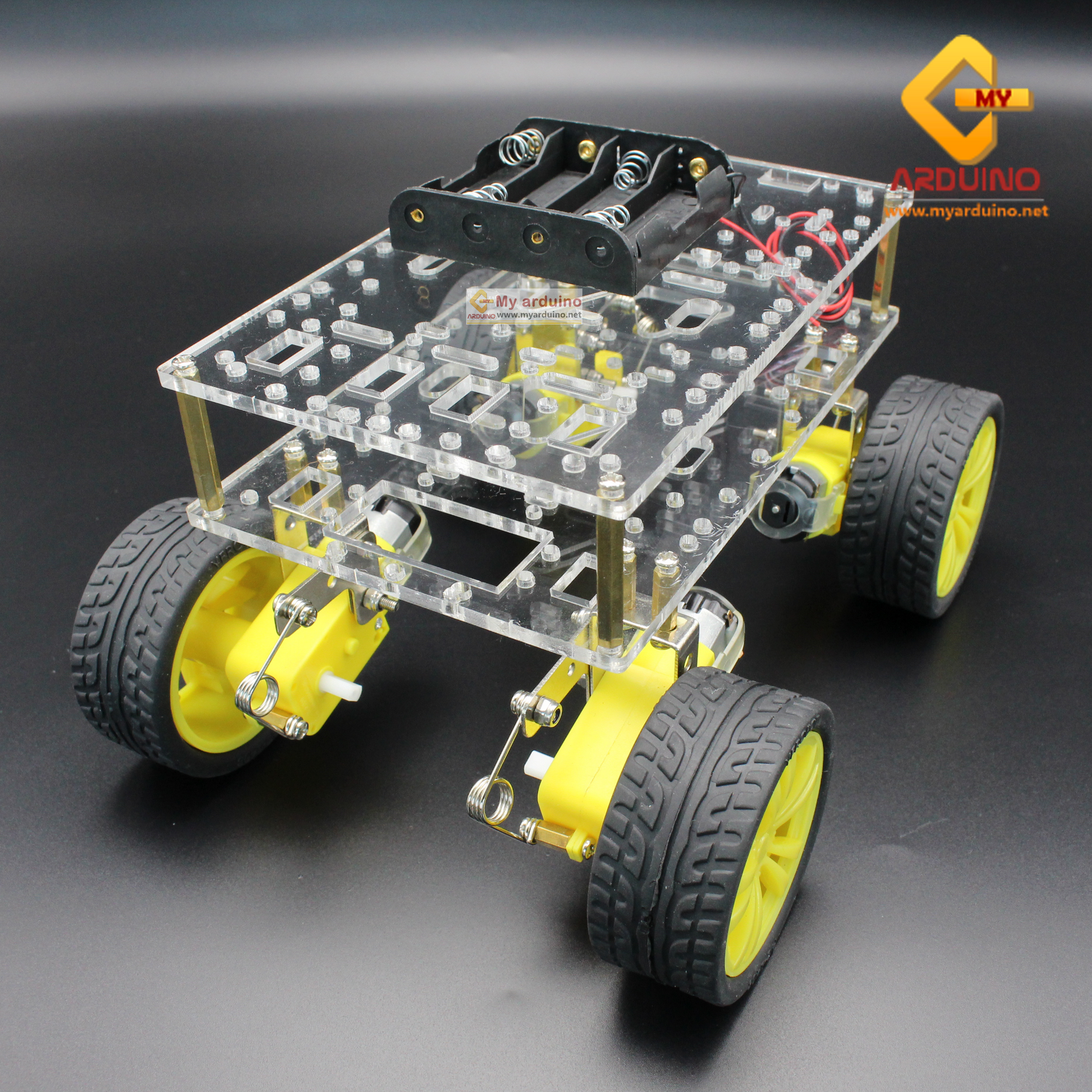 โครงหุ่นยนต์รถ 4 ล้อ พร้อมโช๊คล้อรถ