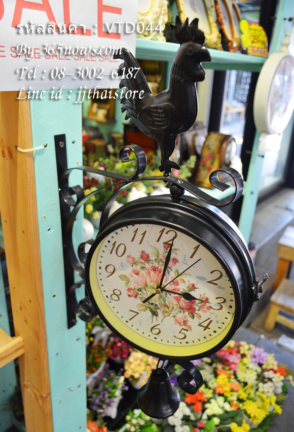 นาฬิกาแต่งบ้านสไตล์วินเทจ รูปไก่ดำ
